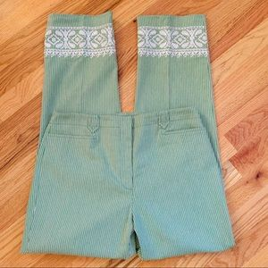 WORTH Green/White/Black Stripe Embroidery Pants